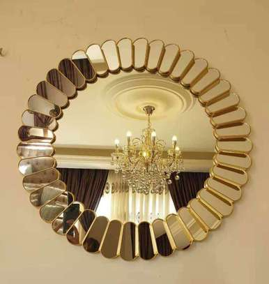 Round Golden Mirror image 1