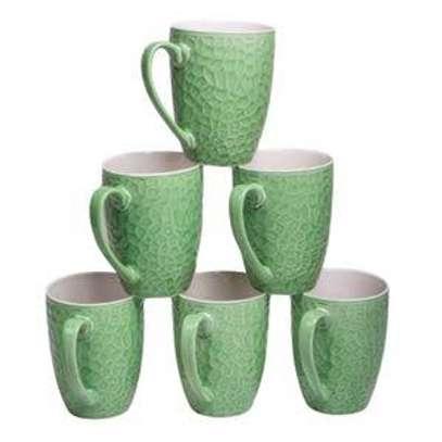 6 pcs ceramic glass mugs image 1