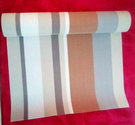 Table runner stripped biege brown 1pc image 1