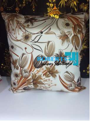 brown flowered throw pillows image 1