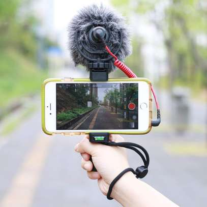 F-Mount Mobile Smartphone Camera Grip Holder Handle Rig Monopod with Tripod Mount and Cold Shoe Mount for Filming Video on Most Smartphones