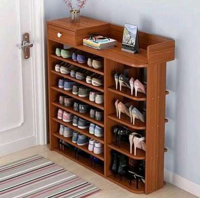 6 tier many partitions wooden shoe rack image 1