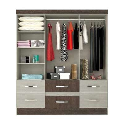 Wardrobe with 6 Doors & 2 Drawers - Moval , Hazelnut & Almond image 2