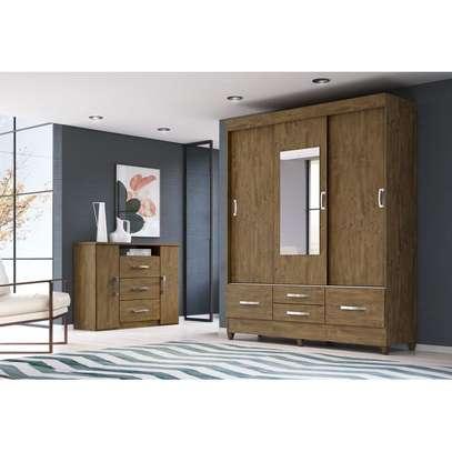 Wardrobe with 4 Drawers & 3 Sliding Doors image 3