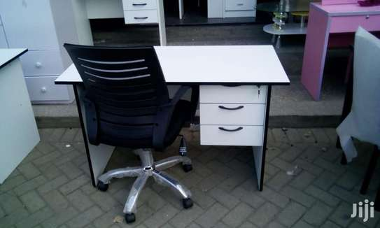 1.2 Metre White Desk and an Office Chair image 6