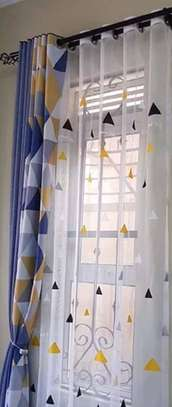 curtains yellow and blue print image 1