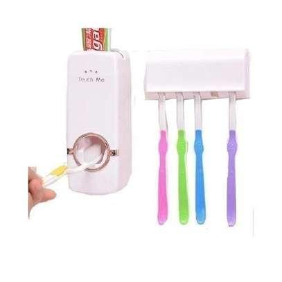 Set Of Toothpaste Dispenser Plus Tooth Brush Holder image 1