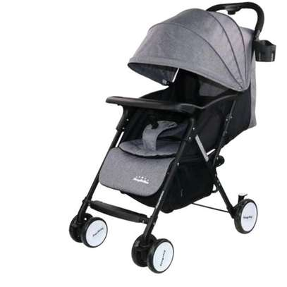 Foldable Baby Stroller With Universal Casters- Grey image 1