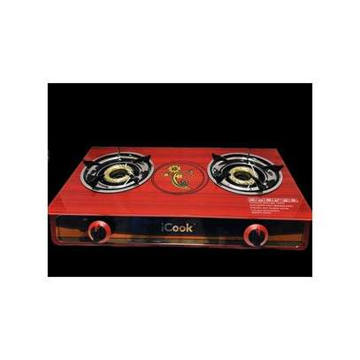 icook GAS STOVE TABLE TOP 7MM GLASS WITH DOUBLE BURNER image 1