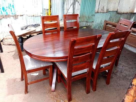6-seater-mahogany-made dining set image 1