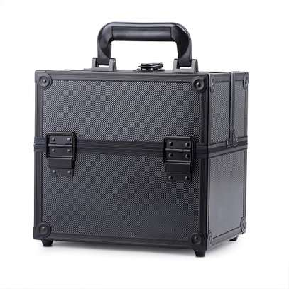 Makeup Train Case Adjustable 4 Trays Professional Cosmetic Cases Portable Makeup Storage Organizer Box with Lock and Compartments, Carrying with Handle 9.8 Inch Black (9.8inch, Black)