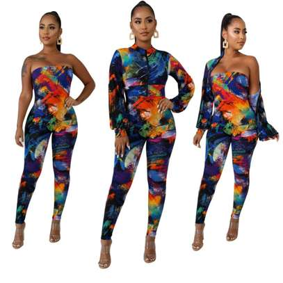 Print Colorful Strapless Jumpsuit with Crop Top Size M