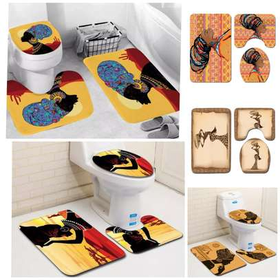 African Themed 3pc Toilet Mats image 1