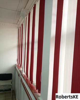 red and white vertical office blind image 3