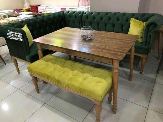 Modern chesterfield dining table set for sale in Nairobi Kenya/eight seater dining set/green L shaped dining chairs/ image 1