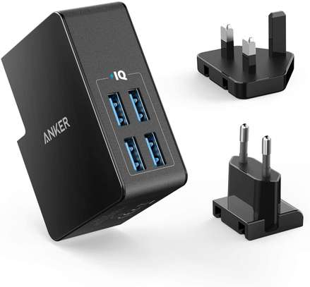 ANKER POWERPORT LITE 4 PORTS 5.4A/27W 4-PORT USB TRAVEL WALL CHARGER image 1