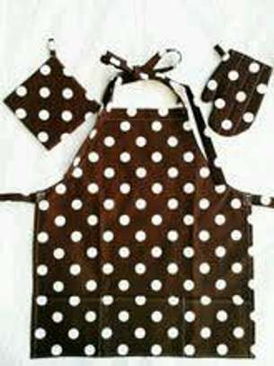 3pc dotted brown apron image 1