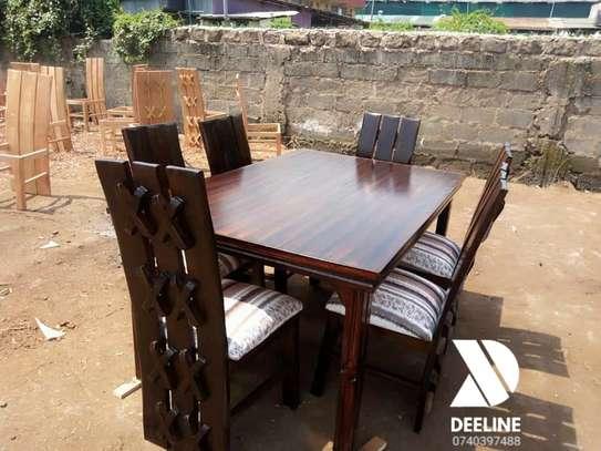 Rectangular 6 Seater Mahogany Framed Dining Sets image 5