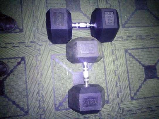 40kg Pair hex dumbbells image 3