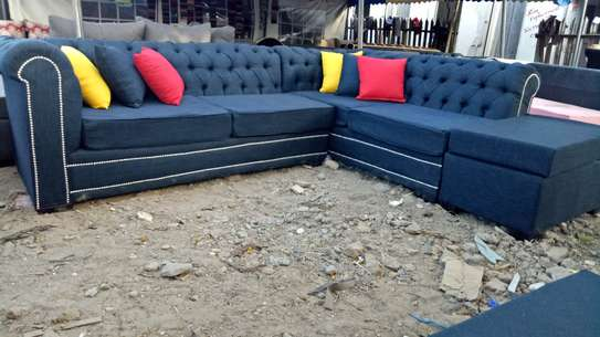 5 seater Blue Deep-button sofa