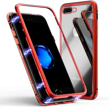 Magnet Protective Case For iPhone 7 7+ With Metal Frame Glass Back image 1