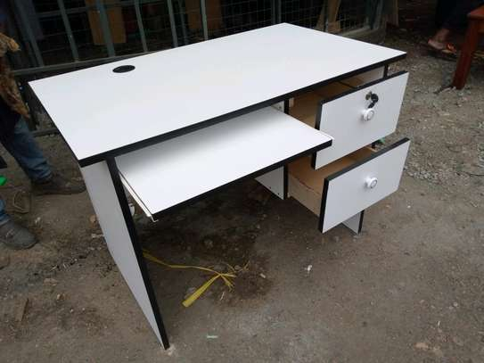 White Office desks 3.5ft with a keyboard  shelf image 1
