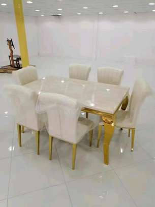 Marble dining set 1+6 seater image 1