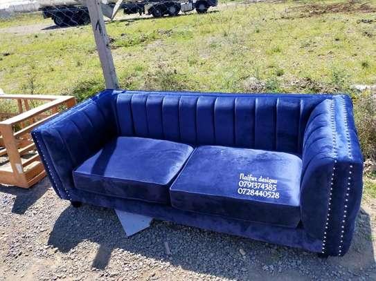 Blue sofas/three seater sofa/modern stripped sofas image 1