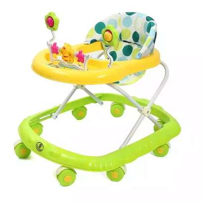 Multi-functional Beautiful Baby Walker - Green and Yellow image 1