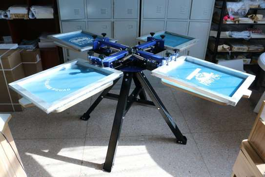 4 Color 4 Station Silk Screen Printing Press Machine image 1