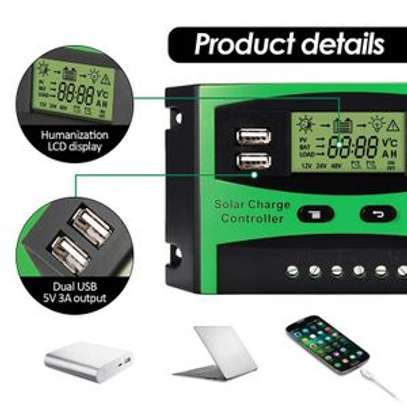 Solarmax 20A LCD Auto PWM Solar Cell Panel Battery Charge Controller Regulators LCD Display Dual USB 12V/24V image 2