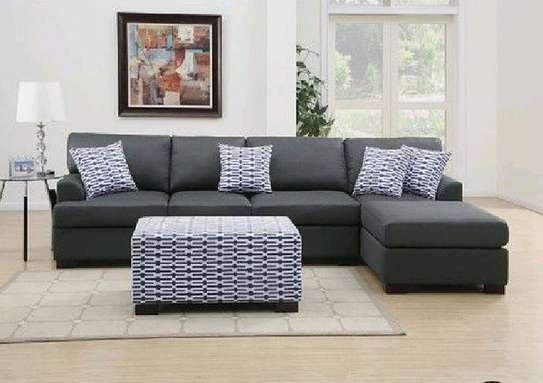 Modern L shaped sofas/six seater L shaped sofas/footrest puff image 1