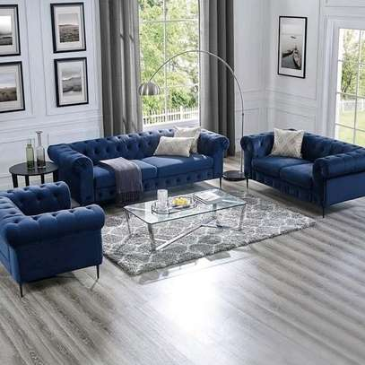 Blue 6seater chesterfield set image 1