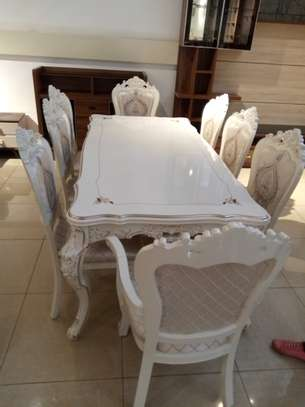 Decorated Glass 8 Seater Dining Table image 4