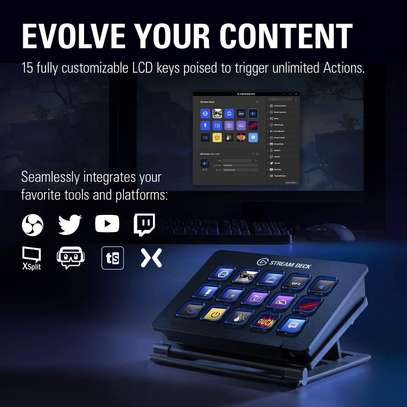 Elgato Stream Deck - Live Content Creation Controller with 15 Customizable LCD Keys, Adjustable Stand, for Windows 10 and macOS 10.11 or later image 2