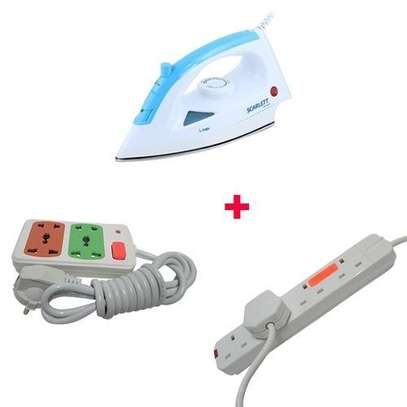 Scarlett Iron Box with 2 Free Red Lable 4-way And Small Socket Extension Cable - 1200W - White & Blue image 2