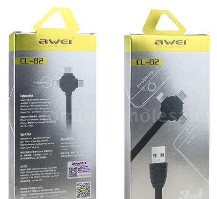 AWEI CL-83 3 in 1 Lightning, Type-C, Micro Port Multi Charging Cable 2m image 3