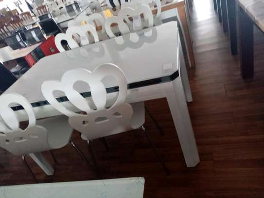 White 4 seater dining table image 1