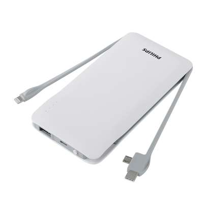 Philips Portable 10000mah Powerbank With Built In 3in1 Lightning & Micro Usb & Type-C, 3 Usb Output Lithium Polymer Powerbank image 4