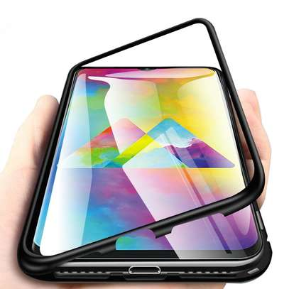 Magnetic Luxury Cases For Samsung A70,A60,A50,A40,A30,A20 With Tempered Back Glass image 1
