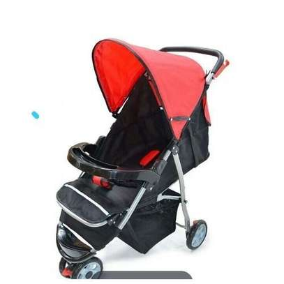 3 wheeler Baby Stroller/ Foldable Pram Portable Baby Stroller With Universal Casters-red/black image 1