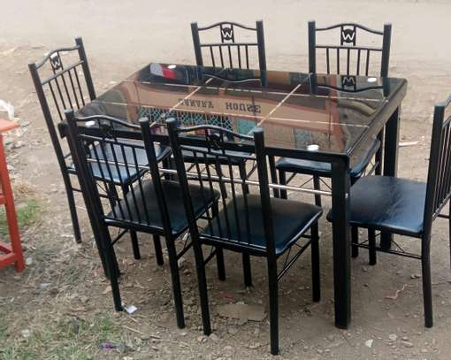 Kids study dining table with six chairs image 1