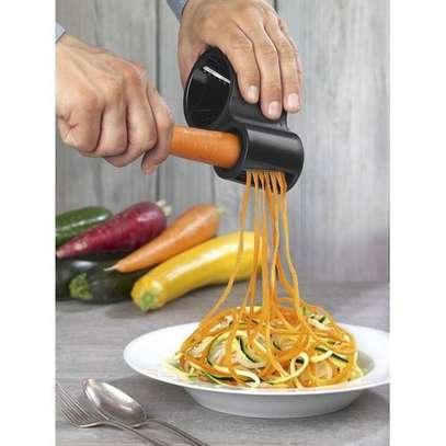 Kitchen Grater Vegetable Fruit Spiral Shred Process Device Cutter Slicer Spirelli Spiralizer Peeler Cutter+Knife Sharpener Tool - Pink image 1