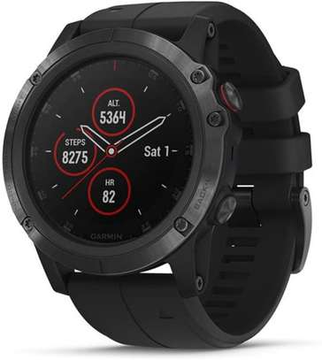Garmin Fēnix 5X Plus, Ultimate Multisport GPS Smartwatch, Features Color Topo Maps And Pulse Ox, Heart Rate Monitoring, Music and Pay, Black with Black Band