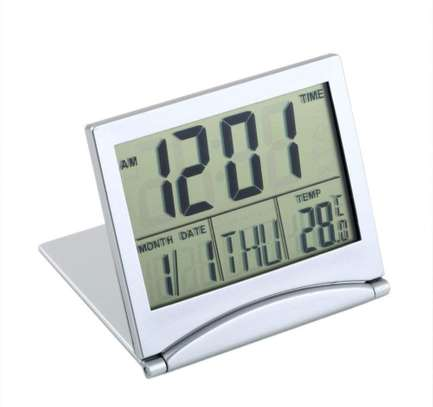 Mini Folding LCD Digital Alarm Clock Desk Table Weather Station Desk Temperature Portable Travel Alarm Clock image 1