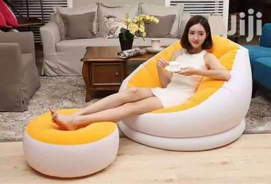 Inflatable Seat With Foot Rest Plus Pump image 3