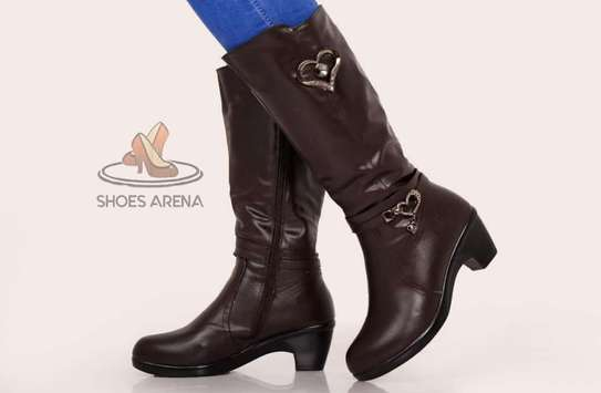 Coffee & black leather boots image 2