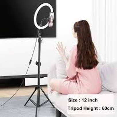 """12"""" Ring Light with Tripod Stand & 2 Phone Holder, Dimmable USB Beauty Ring Lights with Bluetooth Remote, LED Selfie Ring Light for Photography/Makeup/Live Stream,Compatible with iPhone and Android image 1"""