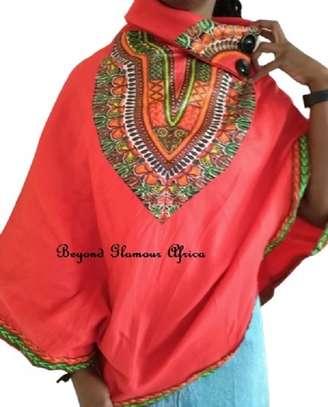 Dashiki Print Red Poncho Super Soft Cotton image 2