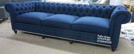 Blue chesterfield sofas/modern livingroom sofa designs/three seater sofas image 1